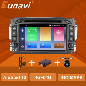 Eunavi 2 Din 7'' Android 10 Car DVD For Mercedes Benz CLK W203 W208 W209 W210 W463 Vito Viano 2din auto radio stereo with dsp image
