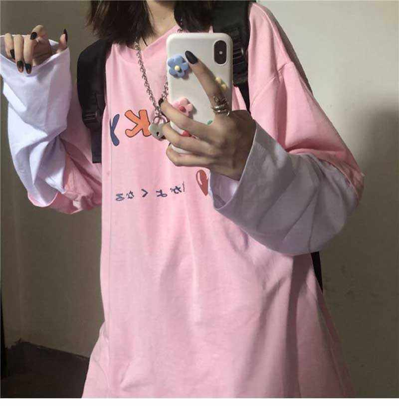 Patchwork Kontrast Langarm Grafik Japanischen Brief Liebe Nette Druck Kawaii Lose T Shirt T-Shirt Frauen Koreanische Student Rosa