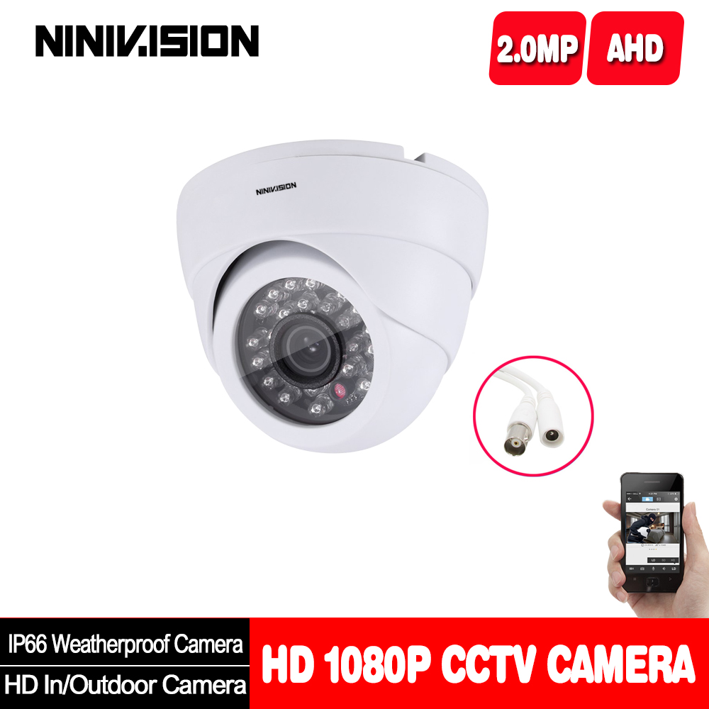 Home Indoor Outdoor White Dome Camera IR-CUT 2.0MP 1080P AHD Camera Night Vision AHD-H CCTV Camera For Home Surveillance System