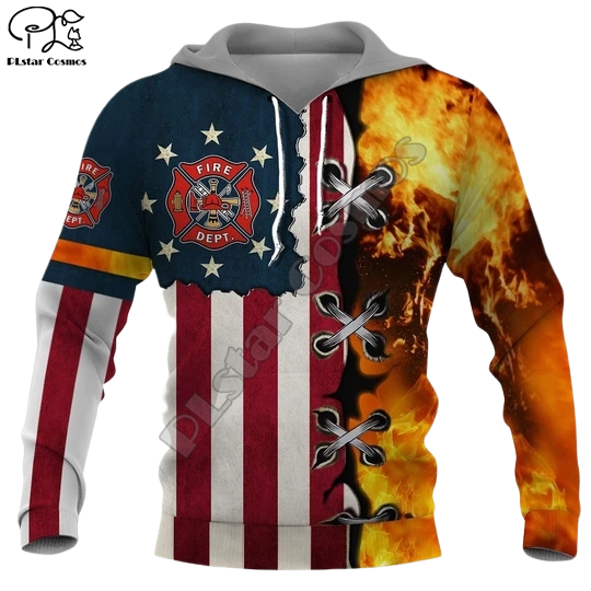 Men Unisex Firefighter USA Flag printed 3d hoodies Unisex Firemen Sweatshirts women Pullover jacket tracksuit pullover Coat 04
