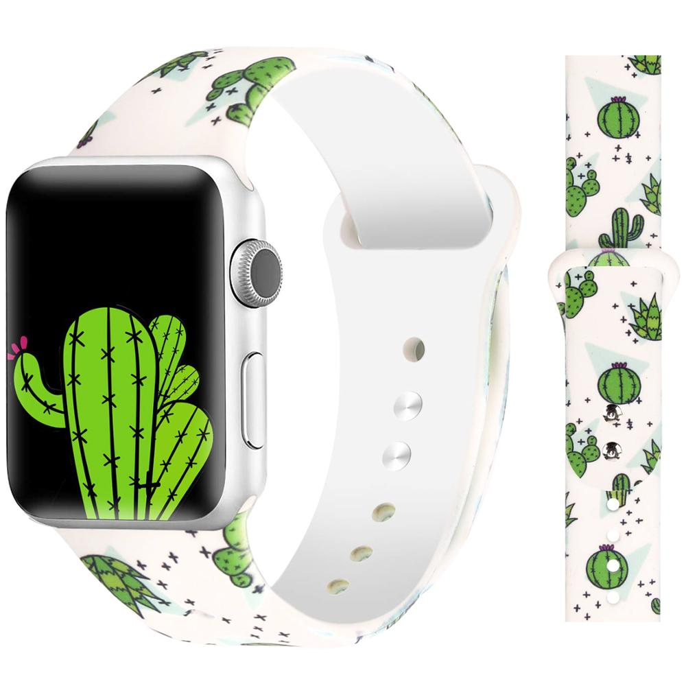 Printed Silicone Strap Band For Apple Watch 38mm 42mm Women Sport Rubber Bracelet Watchband 40mm 44mm For Iwatch Series 4 3 2 1