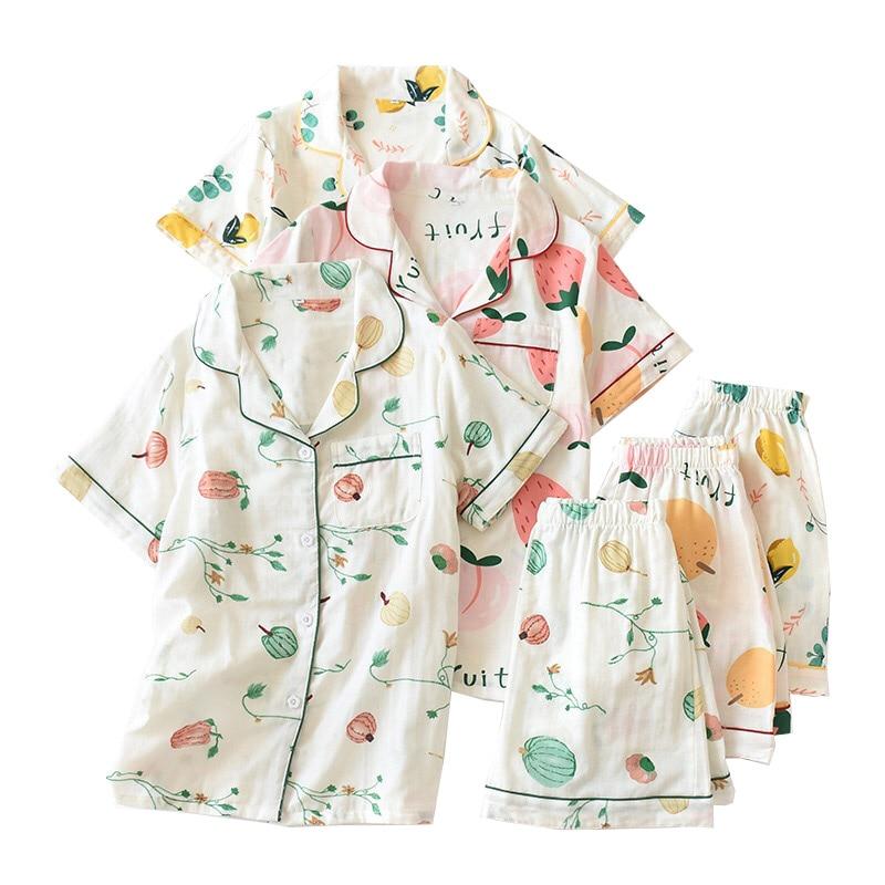 Cartoon Fruits Printed Women Japanese Fresh Style Pajamas Set Turn-down Collar Short Sleeve+Shorts Ladies Sleepwea 2PCS Homewear