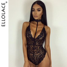 2018 Spring Sexy Club Lace Bodysuit Women Bodycon Printed Choker V-Neck