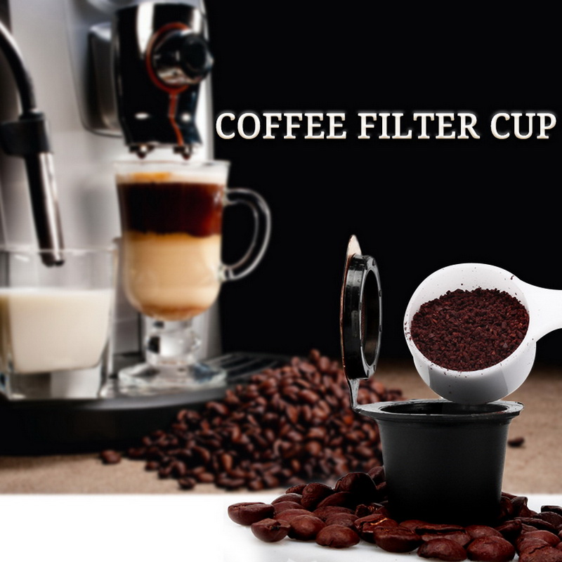 Upgraded Version Coffee Capsules Filter Cup Refillable Reusable Coffee Capsule  For Nespresso Machines Spoon Tea Baskets
