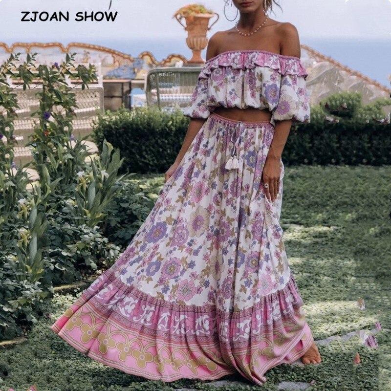 Bohemia Ruffle Elastic Slash neck Floral Print Pullover Shirt Women High Waist Maxi Long Skirt Pink Holiday 2 Pieces Set