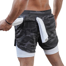 2020 New Casual Shorts men Summer Mens Shorts 2 in 1 High Elastic Gyms Fitness Short Pants