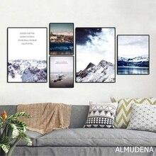 Пейзаж на холсте с Горным и морским пейзажем, скандинавские украшения для дома, настенные художественные картины, природный пейзаж, плакат для декора гостиной