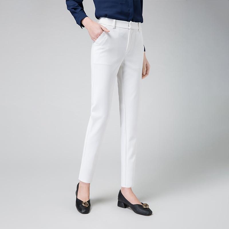 New Women Casual Spring Autumn Long Trousers Solid Elastic Waist Cotton Linen Pants Ankle Length Pants