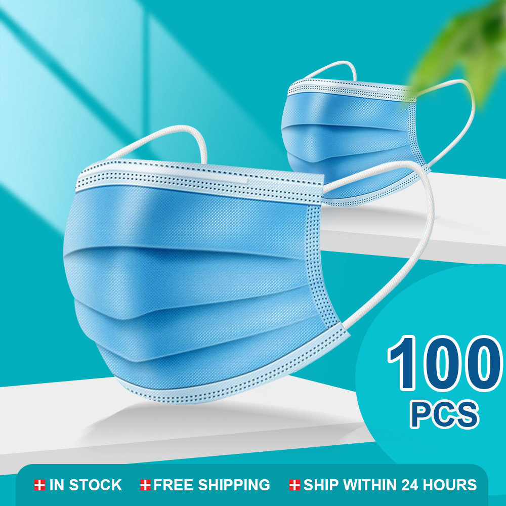 50/100 Pcs Mouth Masks 3-layer Anti-Dust Disposable Mascarillas Non Woven Meltblown Cloth Masks Elastic Ear Loop Face Mask