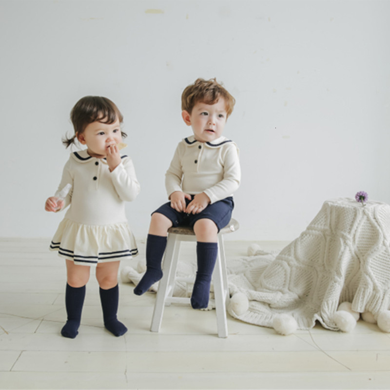 Baby Lovely Pure Cotton Navy School Wind Creeping Suit Clothes Life Bodysuit Twins