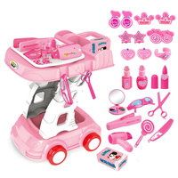 26Pcs Girls Simulation Makeup Kit Pretend Hairdressing Tool Set Pretend Play Beauty Fashion Toy Cosplay Party Girl Gift Pink