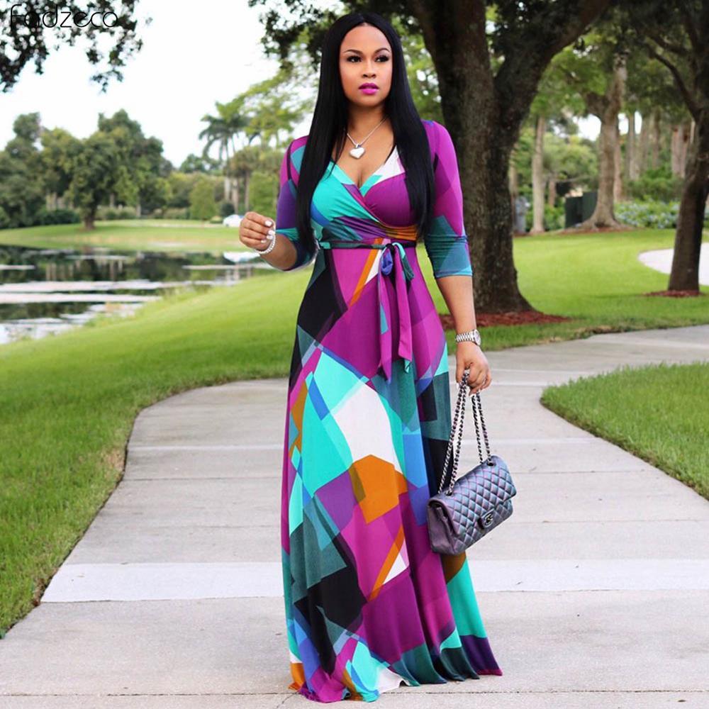 Женское длинное платье в африканском стиле Fadzeco, традиционные свадебные и вечерние платья с длинным рукавом и цветочным принтом в нигерийском стиле|Африканская одежда|   | АлиЭкспресс