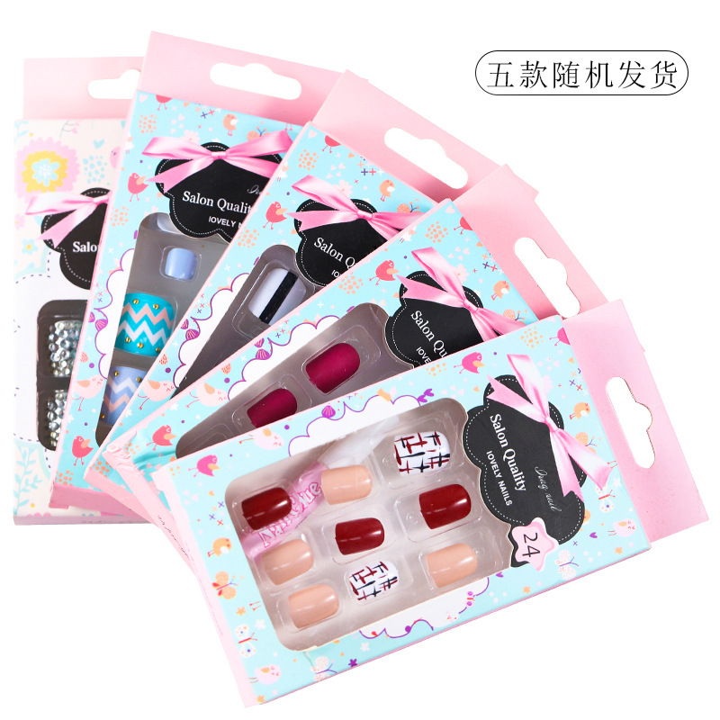 Online Celebrity-Wear Nail Tip Nail Tips Finished Product Deconstructable Wear Stickers Toenail Gauntlets 5-Random Delivery