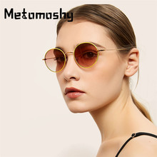 2019 Retro Round Sunglasses Women Brand Designer Metal Frame