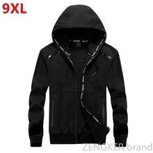Big size men plus size of mens hooded cardigan cotton zipper tide oversize students coat big yards jacket men 9XL 8XL
