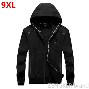 Image 1 - Big size men plus size of mens hooded cardigan cotton zipper tide oversize students coat big yards jacket men 9XL 8XL