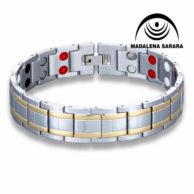 MADALENA SARARA Premium Titanium Steel Energy Bracelet Magnetic Germanium Magnets Negative Ions Inlaid Heathy For Body