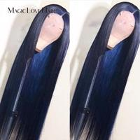 Magic Love Hair Dark Blule color Lace Front Human Hair Wigs Pre Plucked With Baby Hair Brazilian Straight For Black Women
