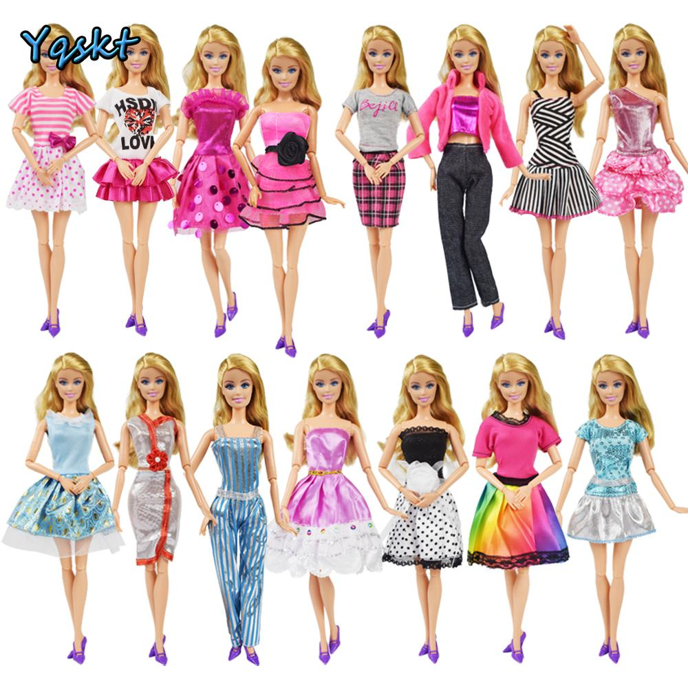 5 Outfits Dress Top Blouses Pants+Random 6 Necklace Clothes For 12 in Doll Gift