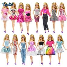 9 Item/Set Doll Accessories=3 Pcs Doll Clothes Dress+ 3 Plastic Necklace + Random 3 Pairs Shoes for Barbie doll Girl Gift  Toy