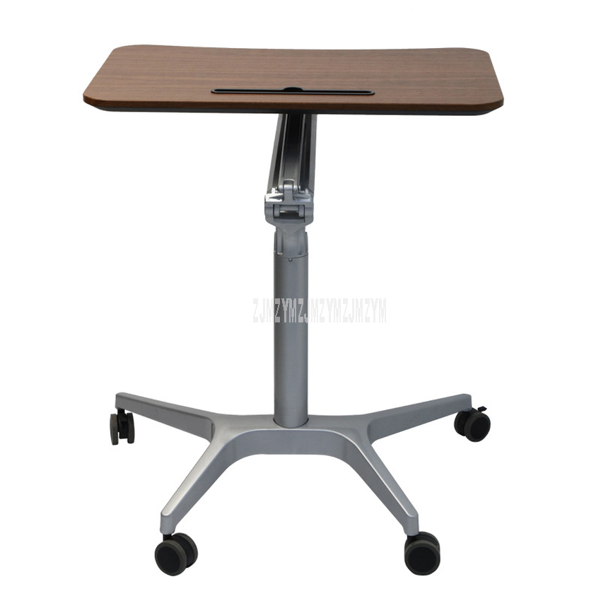 44.5x71cm Desktop Mordern Side Table Pneumatic Lifting 77.5mm-107cm Sit/Stand Laptop Desk Notebook Tray With Wheel Movable