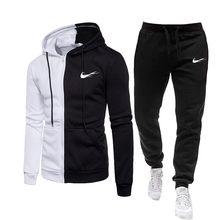 Nouvelle marque hommes sport costume 2 pièces à capuche + pantalon hommes sport imprimé jogging costume