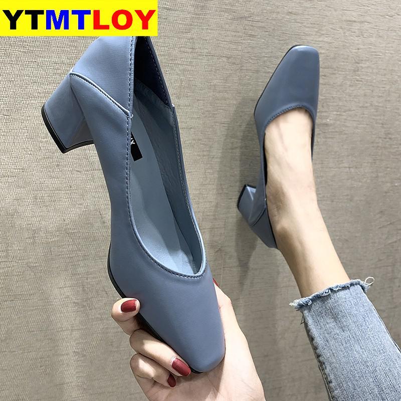 Women Spring Square High Heels Shoe Woman Classic Slip On Casual Ladies Elegant Square Toe Soft PU Fashion Female Pump New