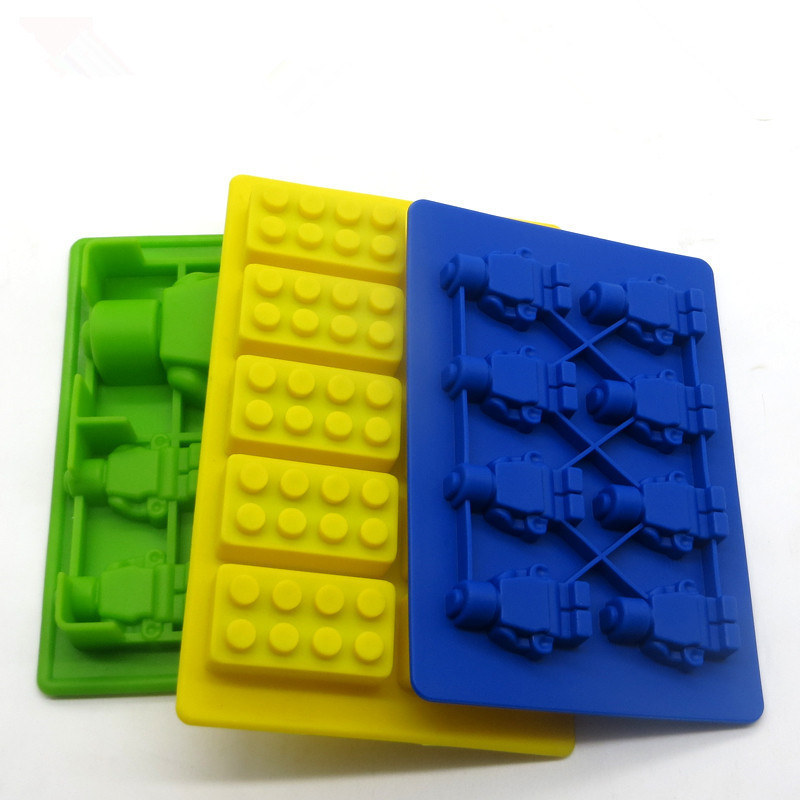 Happy High Building Block Robot 3 Pieces Building Blocks Chocolate Mold Ice Cubes Fondant Chocolate Silicone Ice Lattice Mode Di