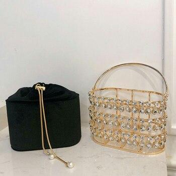 Black & Apricot Silver Diamond Metal Basket Ladies Shoulder Chain Tote  2