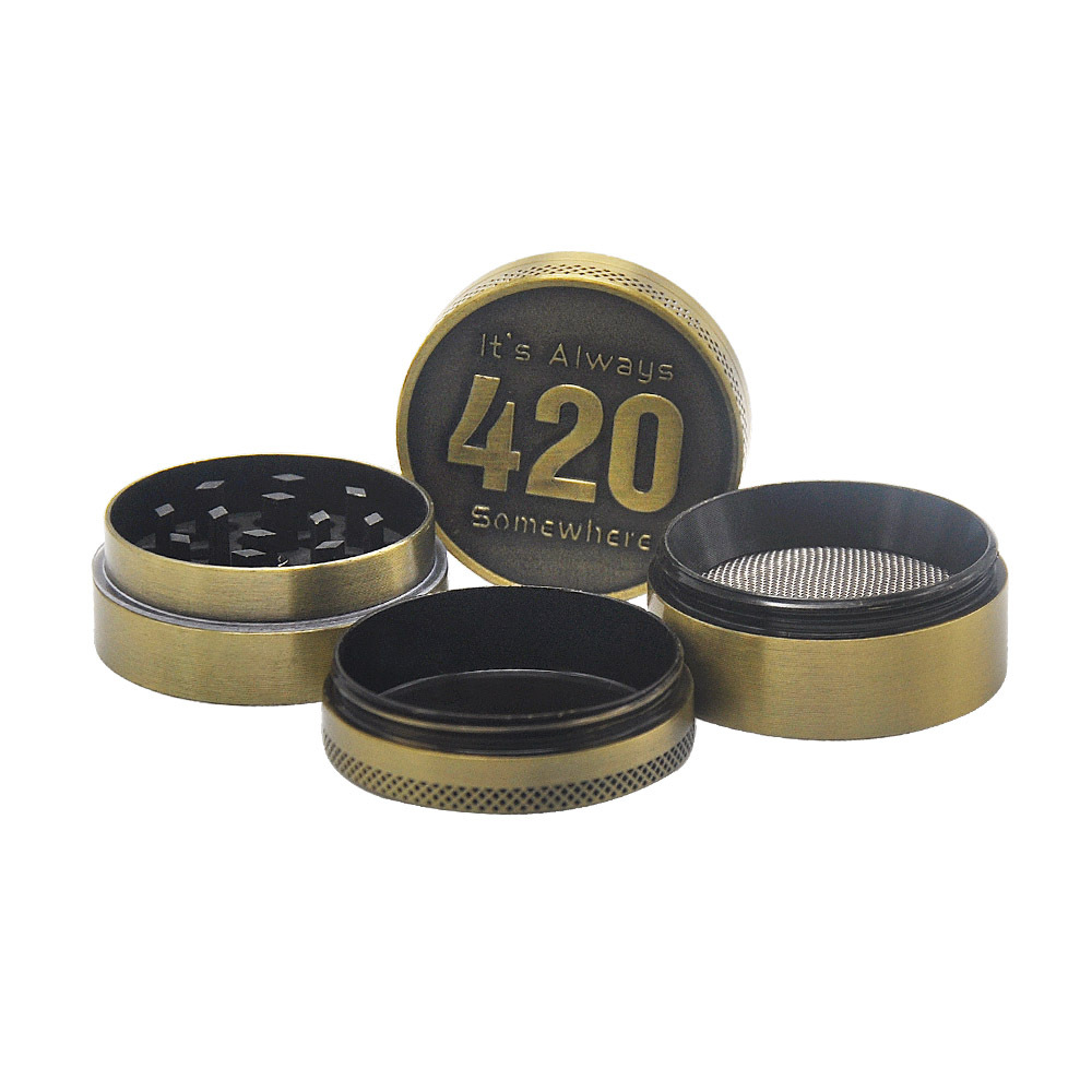 Bronze color Zinc Alloy Herb Grinder 40MM 4 layer Metal Mini Tobacco Grinders with Pollen Catcher Smoke Pipe Accessories 4