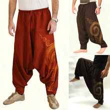 Vintage Men Pants Harem Elastic Casual Baggy Yoga Harem Pants Hip-hop Men Gypsy Cotton Linen Wide-legged Loose Pants Drawstring cheap Polyester Midweight Hip Hop Broadcloth PATTERN High Elastic Waist Full Length Flat