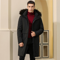 Men's down jacket 2019 new explosion models in the long paragraph handsome winter thickened knee coat