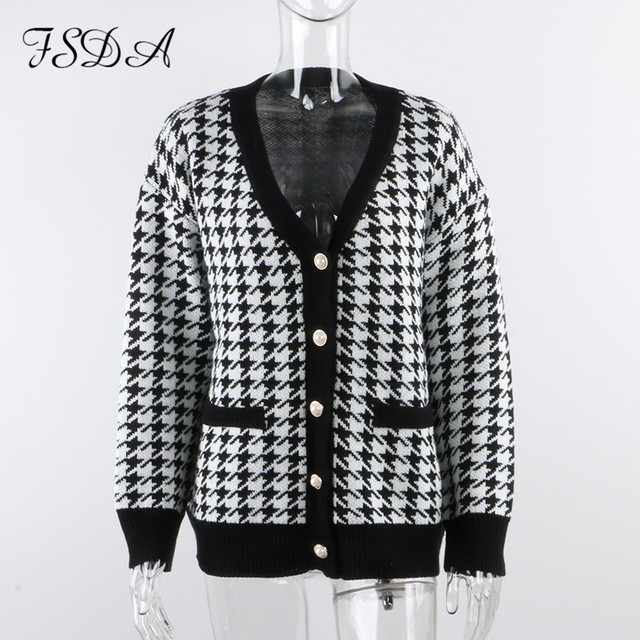 FSDA V Neck Women Button Black Houndstooth Cardigan 2020 Long Sleeve Sweater Autumn Winter Knitted Loose Oversized Jumper Casual 5