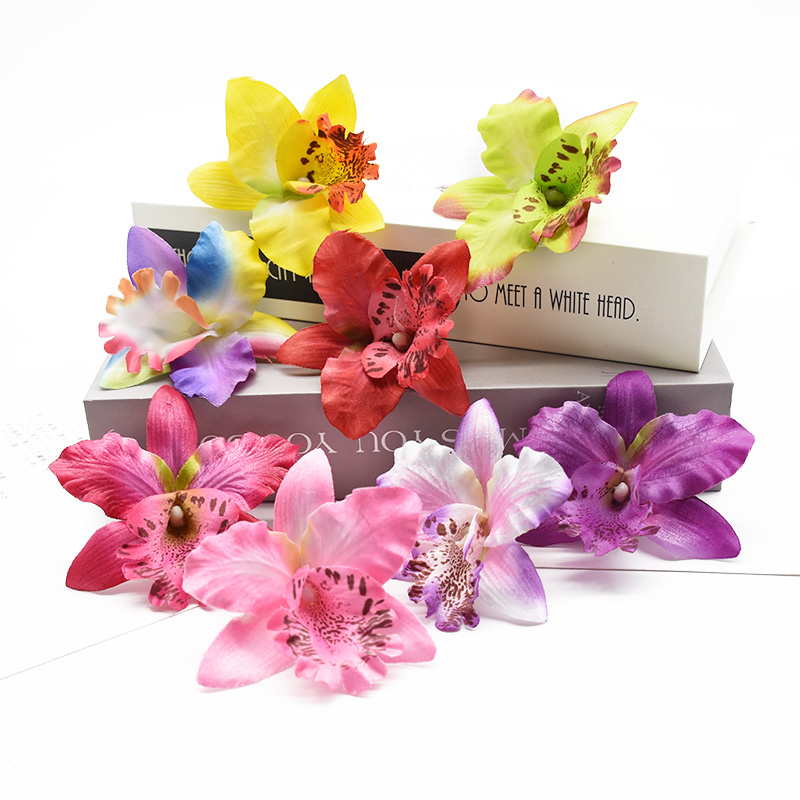 10 Pieces artificial flowers cheap Thai orchid christmas decoration for home wedding Shooting props Beach mannequin head flower