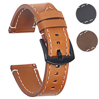 Echtes Leder-uhrenarmbänder Armband Schwarz Braun Rindsleder Armband Für Frauen Männer 20mm 22mm Handgelenk Band