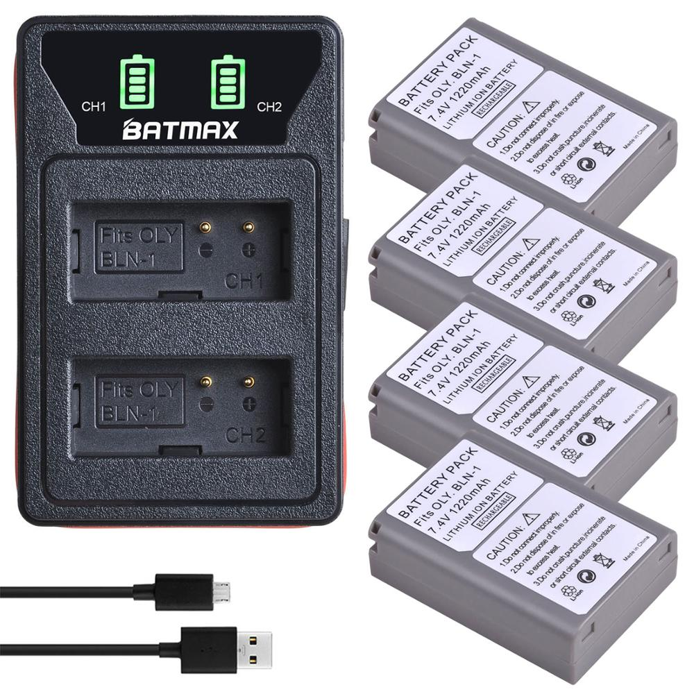 4x BLN-1 PS BLN1 PS-BLN1 Battery + LED Built-in USB Dual Charger For Olympus OM-D E-M1 E-M5 Mark II PEN-F E-P5 EM1 EM5 PENF EP5