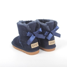 Children's Snow Boots Low-barrel Cowhide Warm Baby Skid-proof Winter Boots Butterfly Knot k z snow the zero knot