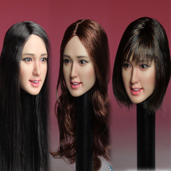SUPER DUCK SDH007 1/6 Long Brown Curls/Asia Long Black Hair/Short Hair Head Carved Female Head Carving for Pale Color   Body