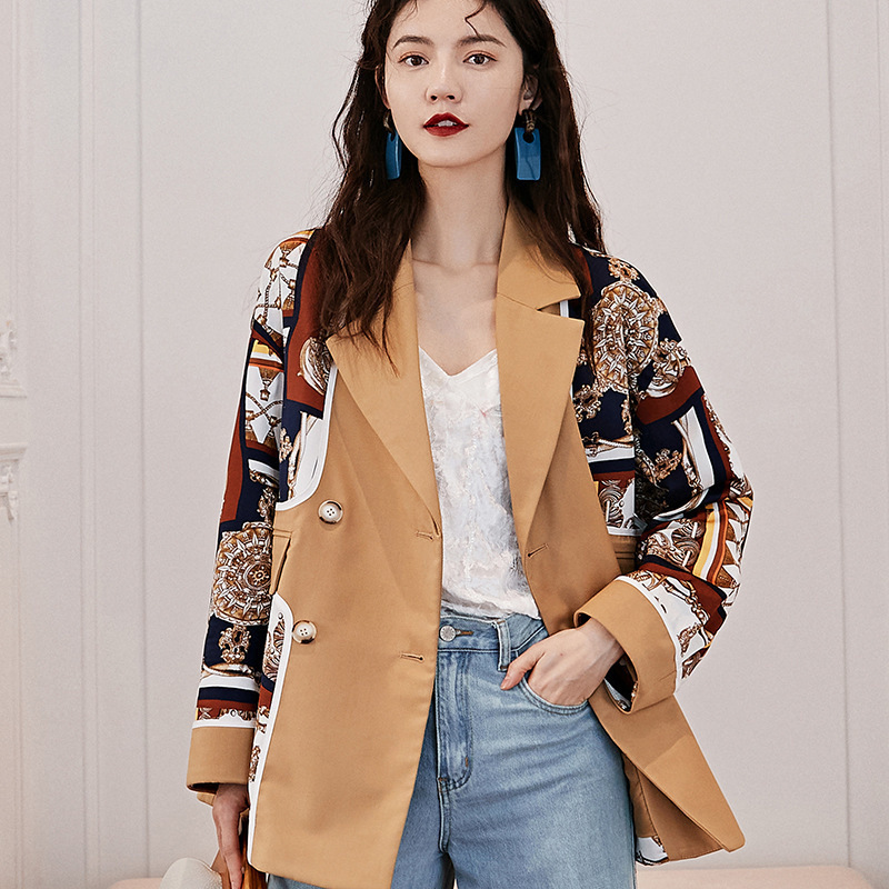 LANMREM Can Ship Design Famale Clothes Long Suit Loose Coat 2020 Spring Fashion Printing New Casual Blazers For Woman YJ035