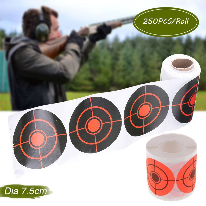 250pcs/Rol Shooting Adhesive Targets Splatter Reactive Target Sticker 6.5/7.5cm For  Bow Hunting Shooting Practice