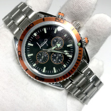 Automatic Mechanical self-winding glide smooth second hand watch all sub dials works master movement stainless steel A quality second hand for symbol ls9208 scanner all function 100