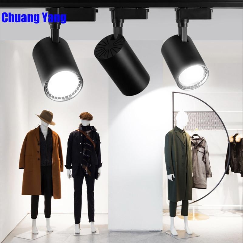 LED Track Light 12W 20W 30W 40W COB Spot Light  Ceiling Mounted Rail Track Lamp Decorative Led Spotlight Track Lighting For Shop
