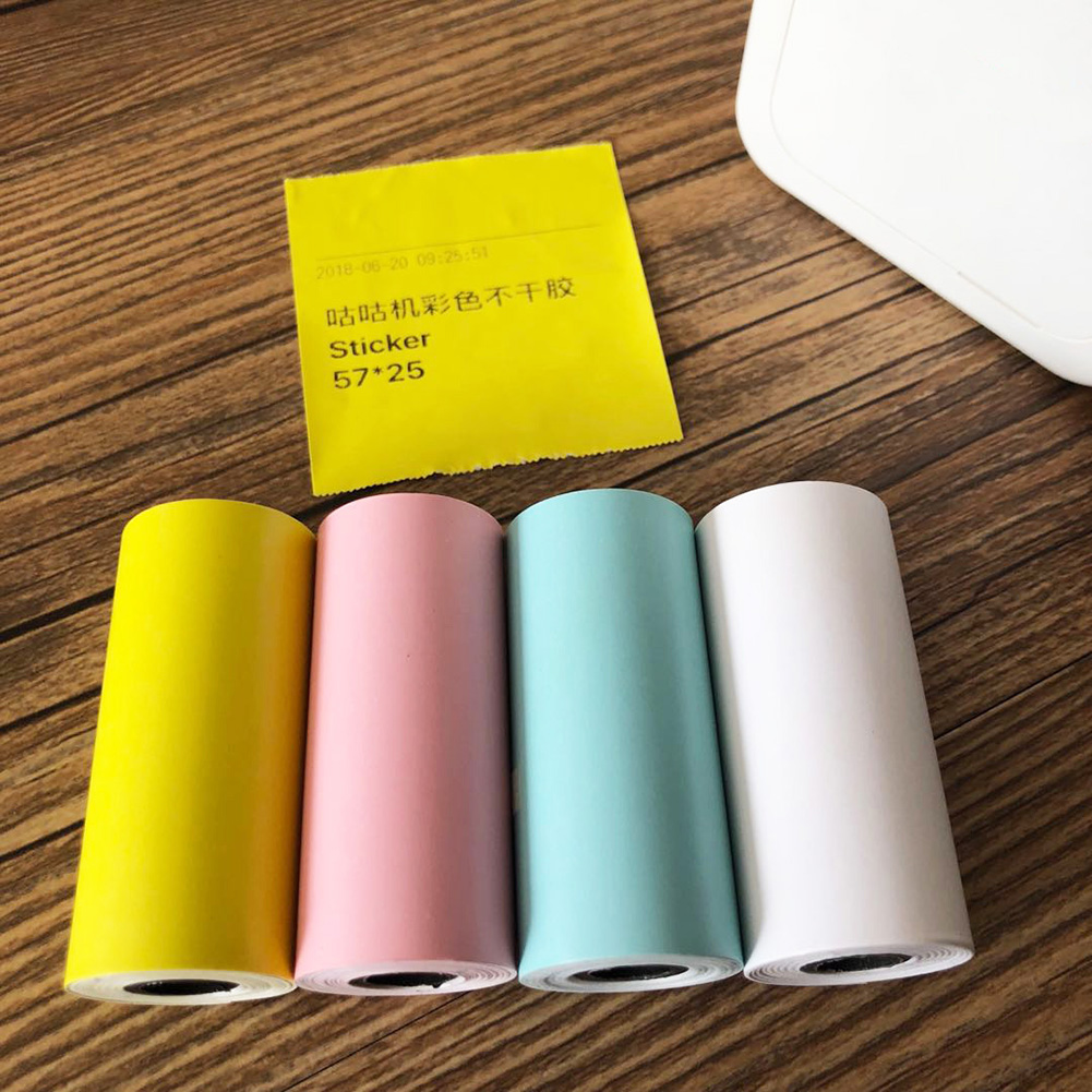 4 Pcs/set Bill Receipt Square Self Adhesive Photo Portable Continuous Printing Paper Colorful Roll Thermal Sticker Durable Gift