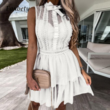 Sexy Mesh Patchwork Bowknot Sweet Party Dress Women Elegant Lace Design Ruffle Mini Dress Fashion Polka Dot Print Princess Dress