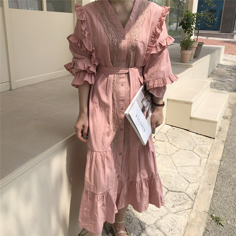HziriP Leisure Gentle Ruffle Waist-Controlled Patchwork Lace 2020 Women Sweet Vintage Loose Chic Casual All-Match Long Dresses