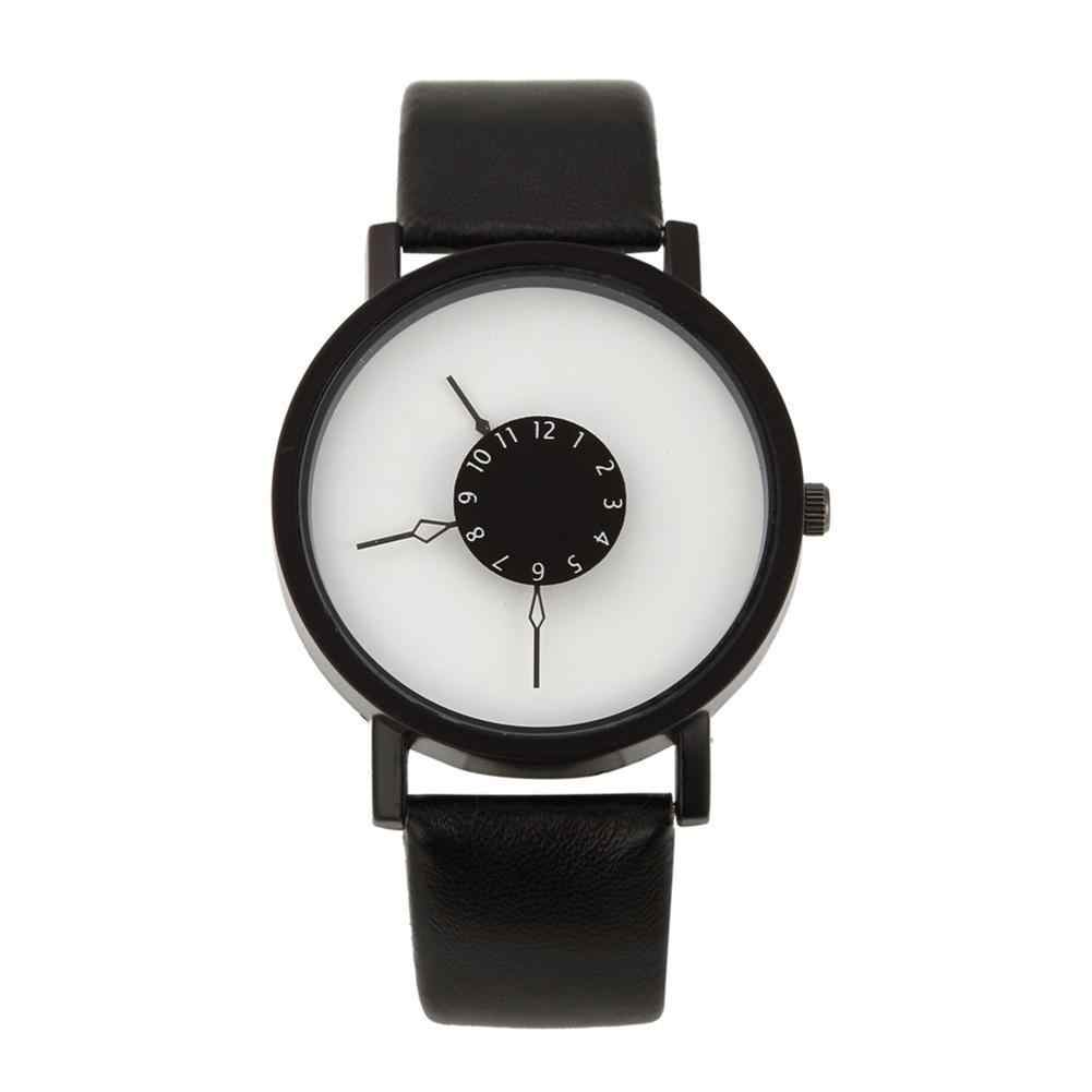 Lovers Casual Round Turntable Dial Faux Leather Quartz Wrist Watches Clock Gift New