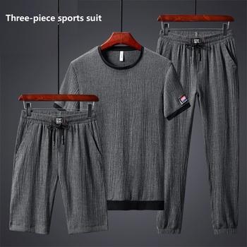 Lodowy jedwab Oversize męska 3 sztuka strój sportowy elastyczna koszulka spodnie garniturowe na co dzień lato Harajuku odzież sportowa męskie biegaczy zestaw M-8XL tanie i dobre opinie LENTHIMEN CN (pochodzenie) CASUAL Wiskoza Na wiosnę i lato Z okrągłym kołnierzykiem Troczek NONE SHORT trousers+shorts