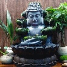 Decoraciones creativas para el hogar, cascada de agua corriente de resina, estatua de Buda, adornos Feng Shui de la suerte, decoración de paisaje