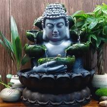 Kreatywne dekoracje domu żywica płynąca woda wodospad Led fontanna posąg buddy szczęście Feng Shui ozdoby dekoracje krajobrazu