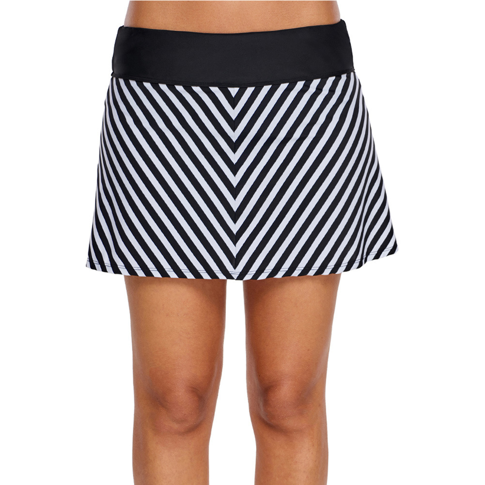 Black And White Stripes Beach Skirt Pants Women's Europe And America New Style Slimming WOMEN'S Dress One-Piece Case High-waiste